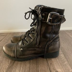 G By Guess Combat Boots Bronze 8M